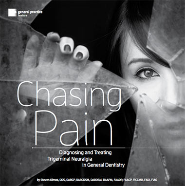"image that says ""chasing pain"" with woman and shattered glass behind it"